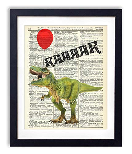 T-Rex Dinosaur With Red Balloon Upcycled Vintage Dictionary Art Print Poster 8x10