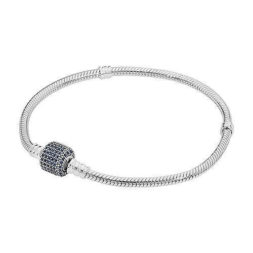 1de0d3979 Image Unavailable. Image not available for. Color: Pandora Signature Clasp  Silver & Blue Bracelet 590723NCB19