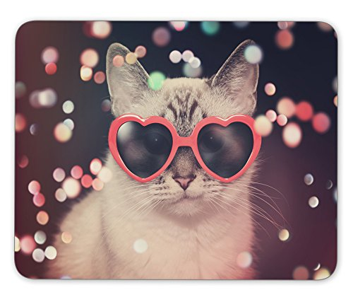 A white cute cat with red heart sunglasses is on a black background Mouse pad mouse pad mouse pad mice pad mouse pad the office mat mouse pad Mousepad Nonslip - Customize Sunglasses