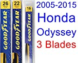 2005-2015 Honda Odyssey Replacement Wiper Blade Set/Kit (Set of 3 Blades) (Goodyear Wiper Blades-Premium) (2006,2007,2008,2009,2010,2011,2012,2013,2014)