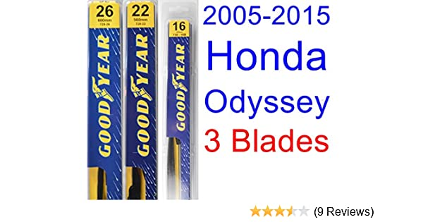 Amazon.com: 2005-2015 Honda Odyssey Replacement Wiper Blade Set/Kit (Set of 3 Blades) (Goodyear Wiper Blades-Premium) (2006,2007,2008,2009,2010,2011,2012 ...
