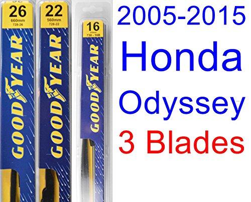 (2005-2015 Honda Odyssey Replacement Wiper Blade Set/Kit (Set of 3 Blades) (Goodyear Wiper Blades-Premium))