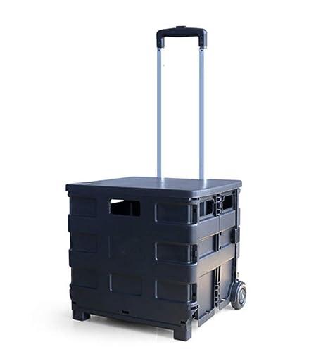 QIANGDA-Carros Carrito Compra Plegable Plástico ABS Carro De Servicio Público De Lavandería Peso Ligero