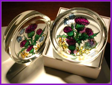 Decorative Hand Painted Stained Glass Paperweight in a Scottish Flowers (Hand Painted Paperweight)