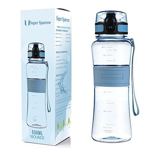 Super Sparrow Premium Sports Water Bottle - 18oz - Fast Flow, Flip Top Leak Proof Lid w/ One Click Open - Non-Toxic BPA Free & Eco-Friendly Tritan Co-Polyester Plastic