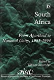 img - for South Africa: From Apartheid to National Unity, 1981-1994 (Research Institute for the Study of Conflict and Terrorism) book / textbook / text book