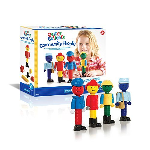 Guidecraft Better Builders Community People 21 Multi Color Piece Magnetic Figures, Ball and Rod Dramatic Play Educational Building Toy - Police Officer, Fire Fighter, Construction Worker, and Mail ()