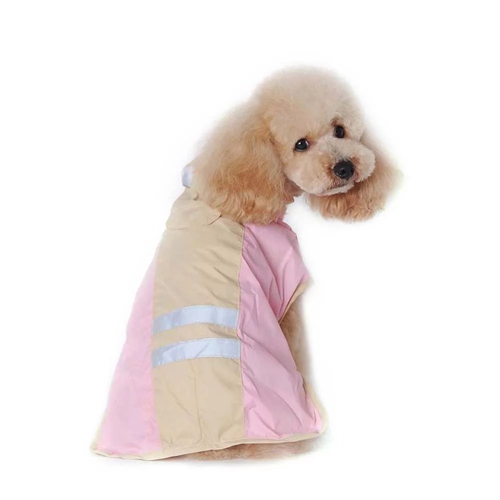Beirui Premium Dog Reflective Raincoat Waterproof and Lightweight with Hat,Pink,XL