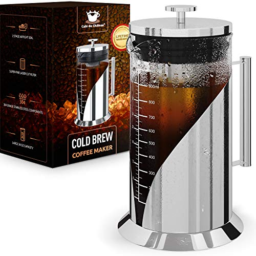 Cafe du Chateau Cold Brew Coffee Maker - 34 Ounces - 304 Grade Stainless Steel Filter - Borosilicate Glass Body - Iced Coffee Maker - Dual Layer Airtight Silicone Seals