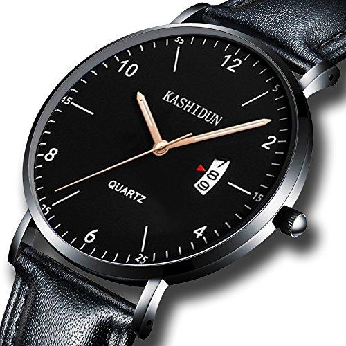 KASHIDUN Men's Watches Sports Military Quartz Wristwatches Waterproof Calendar Date Watch Leather Band Black Color (Calendar Ladies Watch Band Leather)