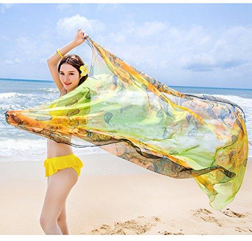 Verde UV Sarong Pareo Sfumato Contrasto Bambine SiLK Scialli Donna Stole solare Paisley Spiaggia di Extra Felix Colore ragazze Colore Protezione Wrap e amp; Sciarpe Vacanza Copricostumi Grande FqBvnZwx6