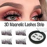 Dual Magnetic False Eyelashes - No Glue 3D Reusable fashionable Fake Eyelashes Extension for Beautiful Natural Enhanced Eyes (1 Pair 4 Pcs)