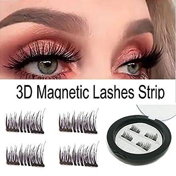 1989f2650ec Amazon.com : Dual Magnetic False Eyelashes - No Glue 3D Reusable  fashionable Fake Eyelashes Extension for Beautiful Natural Enhanced Eyes (1  Pair 4 Pcs) : ...