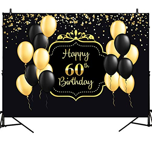 Mehofoto Happy 60th Birthday Backdrop Black Yellow Balloon Background Gold Light Spot Decoration 7X5ft Vinyl Birthday Party Background Adult 60th Birthday Studio Booth Banner Background