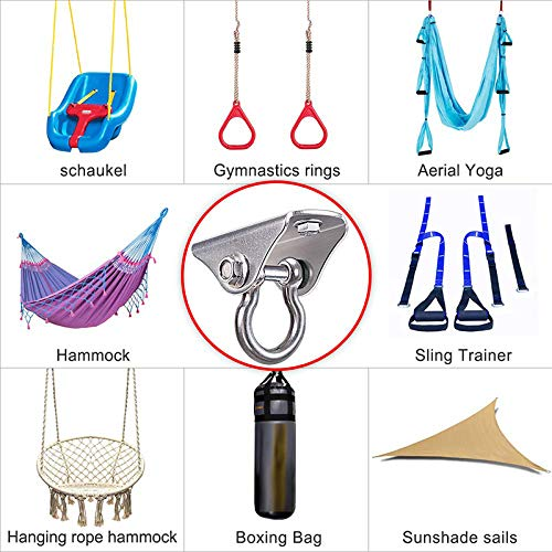 1 hicollie Innovative 450KG Capacity SUS304 Stainless Steel Heavy Duty Swing Hangers Suspension Hooks with Bolt for Concrete Wooden Sets Playground Porch Indoor Outdoor Seat Trapeze Yoga