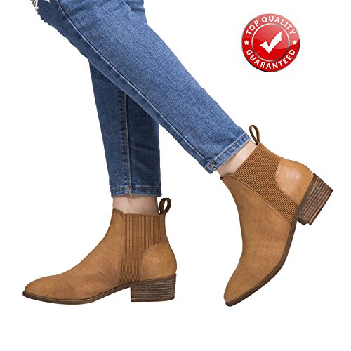 Luoika Short Ankle Boots For Women, Winter Spring Low Chunky Block Stacked Heels Round Toe Waist Elastic Slip On Boots For Lady Big Girls Black Brown