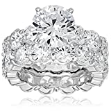 Charles Winston, S Silver, Cubic Zirconia Wedding Ring/Band Set, 4.00 ct. Center, 17.00 ct. tw., Size 7