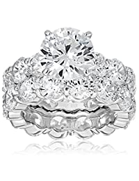 Charles Winston Sterling Silver and Cubic Zirconia Bridal Set, 4.00 ct. Center, 17.00 ct. tw.