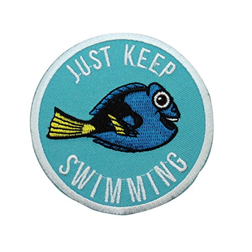 "Finding Nemo""Just Keep Swimming"" Dory Patch DIY Kids Outfit Iron-On Applique"