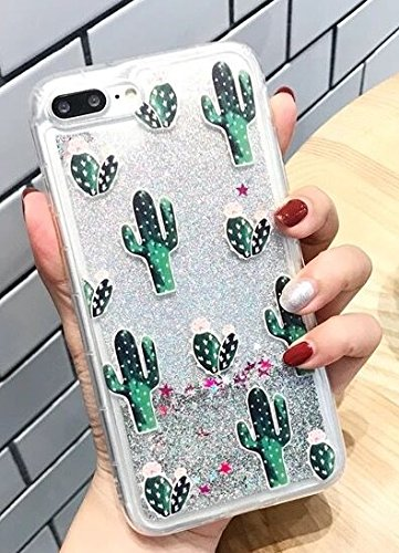 iPhone 8/iPhone 7 Case(4.7inch),Blingys Cool Flowing Liquid Glitter Style Plastic Hard Case for iPhone 8/iPhone 7 (Silver Cactus)