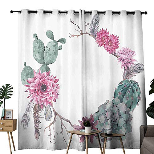 duommhome Succulent Simple Modern Style Curtain Summer Vintage Floral Wreath Boho Chic Style Branches Feathers Curtains are Long Lasting W96 xL72 Sage Green Light Pink Mauve