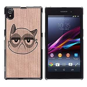 Funda Cubierta Madera de cereza Duro PC Teléfono Estuche / Hard Case for Sony Xperia Z1 L39 / Phone Case TECELL Store / Gato enojado gruñón triste infeliz divertido Cat Angry Grumpy Sad Unhappy Funny