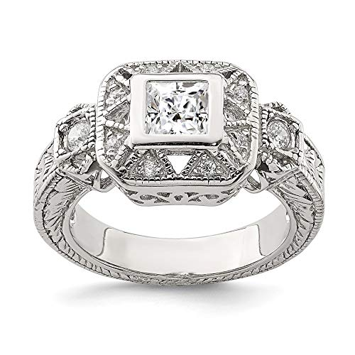 925 Sterling Silver Cubic Zirconia Cz Antique Style Band Ring Size 8.00 Fine Jewelry Gifts For Women For Her