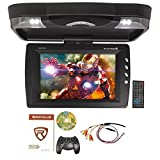 Rockville RVD13HD-BK Black 13'' Flip Down Car Monitor w DVD/HDMI/USB/SD/Games