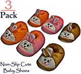 (US) Foxy Fane Cute Non Slip Soft Sole Baby Bootie Slip On Shoes [0-9 Months - 3 Pack]