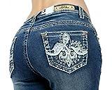 SEXY COUTURE Women's S445-PB Distress Patch Boot Cut Denim Jeans 3-15 - Waist 7