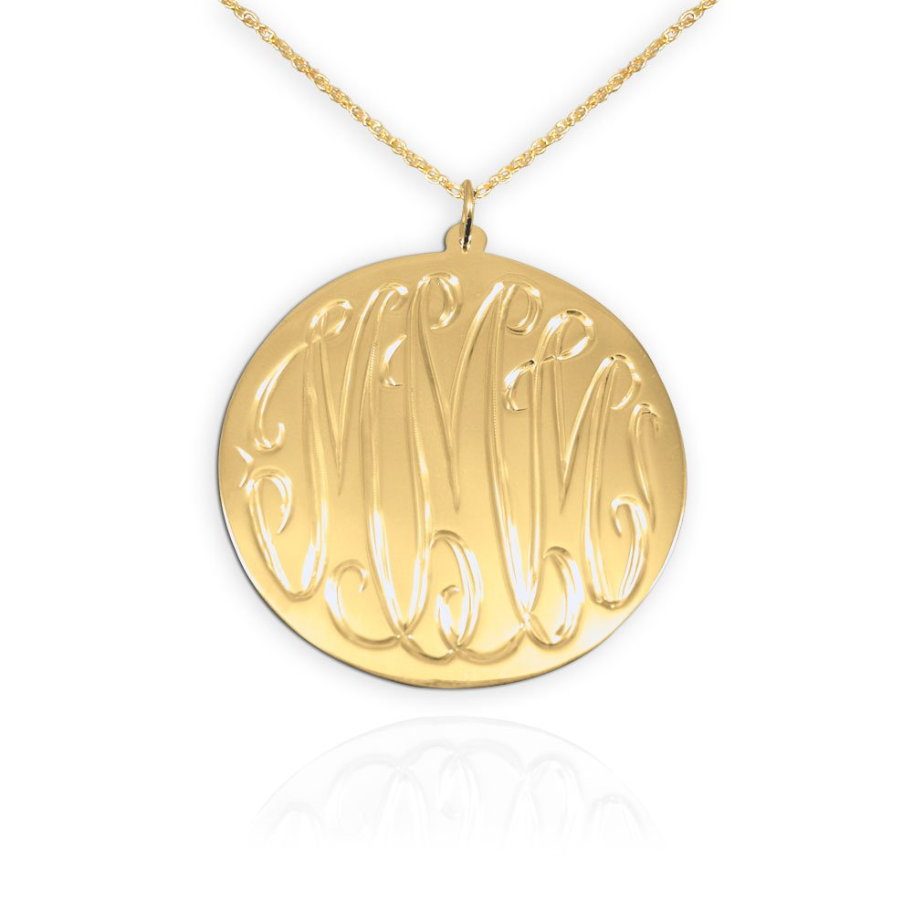 d6d775281c6b34 Amazon.com: Hand Engraved Monogram Necklace 1.25 inch 24K Gold Plated  Sterling Silver Personalized Monogram Initial Necklace Made in USA: Pendant  Necklaces: ...