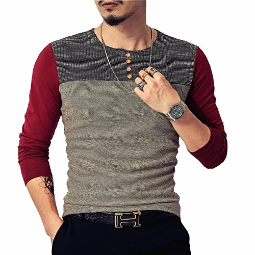 LOGEEYAR Mens Summer Slim Fitted Casual Short-Sleeve Button T-Shirts Contrast Color Stitching Tee (Medium, Long/Red)