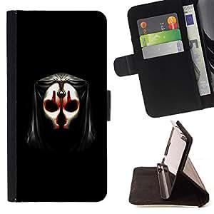BullDog Case - FOR/Apple Iphone 6 PLUS 5.5 / - / Evil Face Mask /- Monedero de cuero de la PU Llevar cubierta de la caja con el ID Credit Card Slots Flip funda de cuer