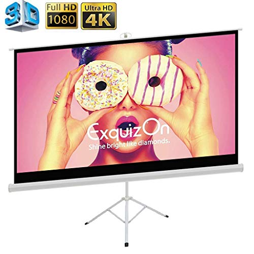 Projector Screen with Tripod Stand, ExquizOn Indoor Outdoor Projection Screen 4K HD 100 Inch 16:9 with Wrinkle-Free Design Portable Foldable 1.2 Gain Lightweight Height Adjustable Pull Up Style