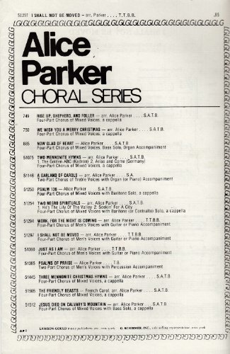 I Shall Not be Moved - Sheet Music for 4-part Chorus of Men's Voices TTBB with Guitar or Piano Accomp (Alice Parker Choral Series, 51297) (Sheet Ttbb Choral Music)