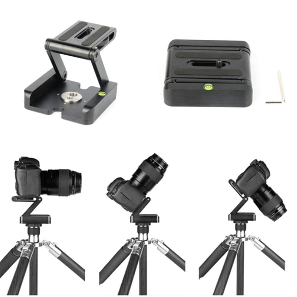 1PC Tripod Head All-Metal Z-Folding Pan/Tilt Desktop Tripod Gimbal Quick Release Plate Folding Z-Shaped Gimbal PTZ Tripod Head for Cameras by Sikeewii