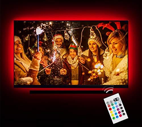 LED Strip Lights for 32-60 inch TV, Emotionlite USB LED TV Backlight, Remote Control, 16 Colors Bias Lighting for HDTV, Coating Protection, Waterproof, Dustproof
