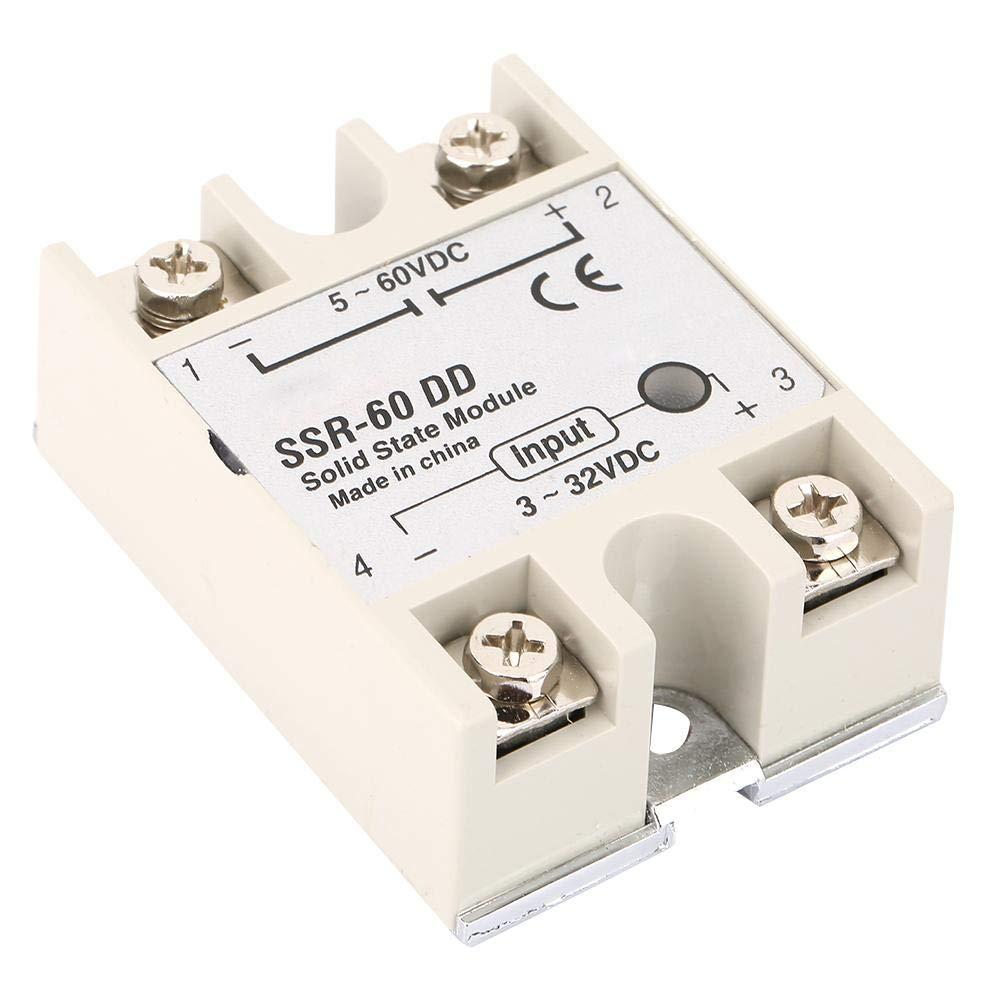 Keenso SSR-60DD 3-32VDC bis 5-110VDC 60A Ausgangsstrom-DC-DC-Halbleiterrelais-SSR-Modul f/ür industrielle Automatisierungsprozesse