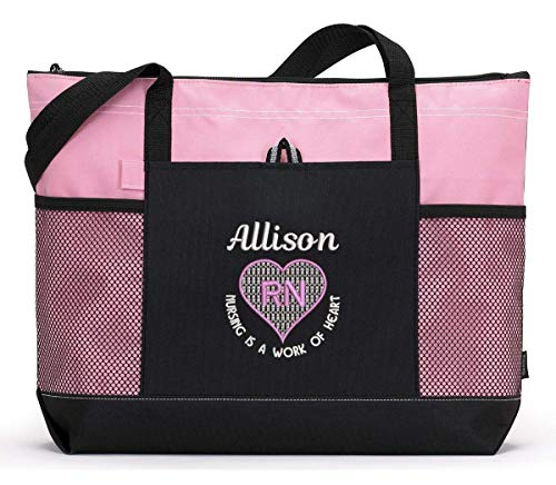 Nursing is a Work of Heart Personalized Embroidered Nurse, CNA, RN, LPN Tote Bag -