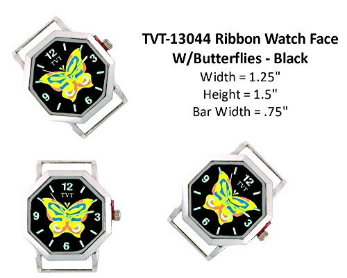 PlanetZia 2pcs ButterflyWatch Faces for Your Interchangeable Beaded Bands TVT-13044 (Black)