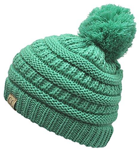 - H-6847-62 Girls Winter Hat Warm Knit Slouchy Toddler Kids Pom Beanie - Seafoam