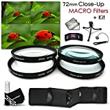 High Resolution 72mm Close-Up MACRO Filter Set + Accessory Kit for NIKON 18-200mm f/3.5 5.6G, 85mm f/1.4 Lenses and CANON EF 135mm f/2L, EF 35mm f/1.4L, EF 85mm f/1.2L II Lenses - Includes: 72mm Close-up Macro filters 1+ 2+ 4+ 10+ + Wallet Case Holde