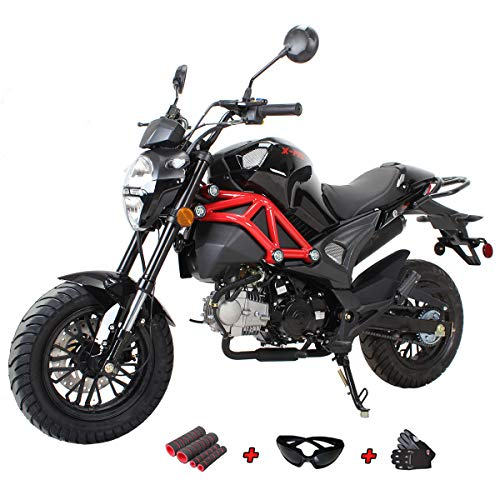 X-Pro 125cc Vader Gas Motorcycle Dirt Bike Street Bike with Gloves, Goggle and Handgrip (Black) (Motorcycle 125 Cc)