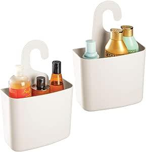 mDesign Juego de 2 cestas de ducha – Gran estante de ducha con ...