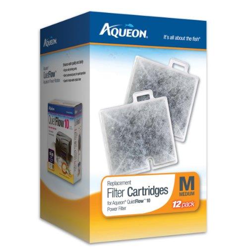 Aqueon QuietFlow Filter Cartridge, Medium, 12-Pack - Internal Power Filter