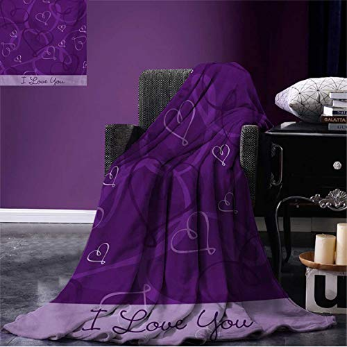 (Anniutwo Romantic Printed Blanket Lavender Colored Romantic Themed Image with Hand Drawn Hearts Image Soft Throw Eggplant Purple and Lilac W62 x L60)