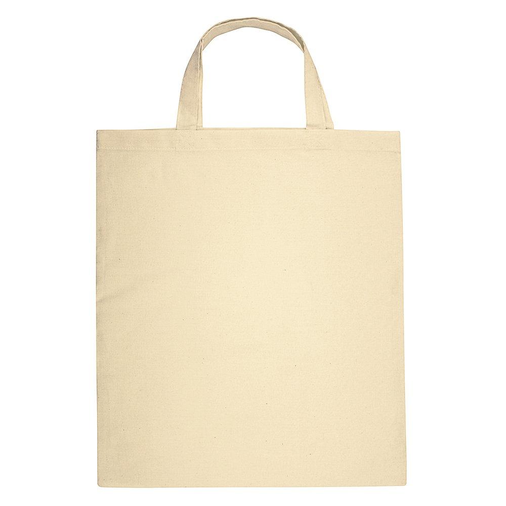 eBuyGB 100 %コットン天然ショッピングトートバッグ – Groceryショッピング再利用可能なショートハンドル付き(ベージュ) Pack of 100 ベージュ 1320813-100 B07BKHBF8M  Pack of 100
