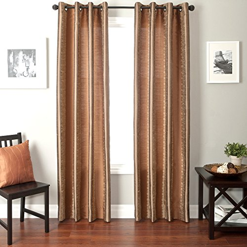 Softline Home Fashions Fantasy Series Faux Silk Window Panel/Treatment/Drape/Curtain, Champagne/Mocha, 55 x 96″ For Sale