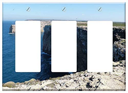 Switch Plate Triple Rocker/GFCI - Algarve Sea Wave Rock Coast Water Booked