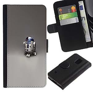 NEECELL GIFT forCITY // Billetera de cuero Caso Cubierta de protección Carcasa / Leather Wallet Case for Samsung Galaxy S5 V SM-G900 // Robot R2 D2